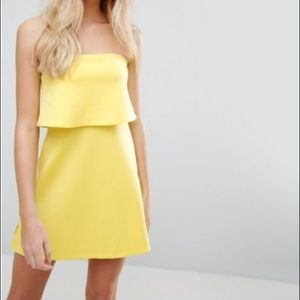 ASOS Bright Yellow Strapless Scuba Dress